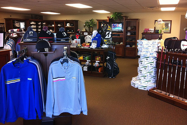inside the proshop at Pecan Hollow Golf Course